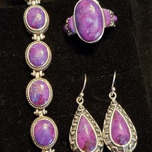 Purple Jade Silver Bracelet, Ring & Earring Trio